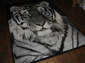New Approx 8x5ft 160x230cm Tiger Face Rug Great Bargain Black/Grey Blue eyes